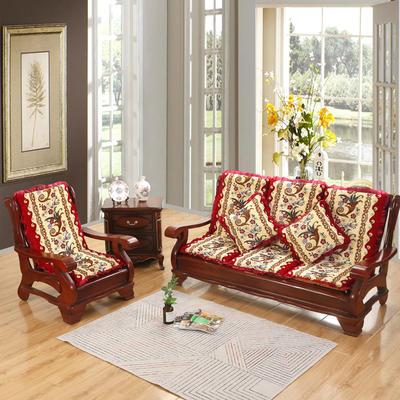 2019新款冬季沙发垫(一座一靠) 55cm 凤尾花-红