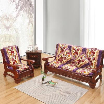 2019新款冬季沙发垫(一座一靠) 55cm 富贵花-紫
