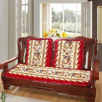 2019新款冬季沙发垫(长条) 双人:53*106cm 凤尾花-红