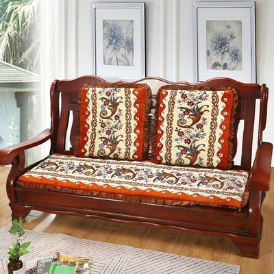 2019新款冬季沙发垫(长条) 双人:53*106cm 凤尾花-桔