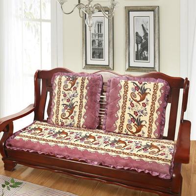2019新款冬季沙发垫(长条) 双人:53*106cm 凤尾花-紫