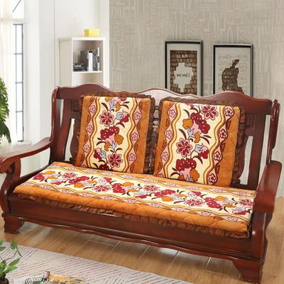 2019新款冬季沙发垫(长条) 双人:53*106cm 富贵花-桔