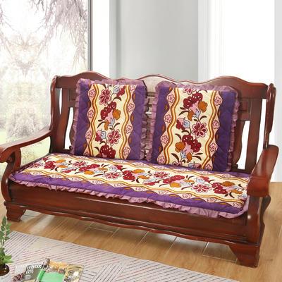 2019新款冬季沙发垫(长条) 双人:53*106cm 富贵花-紫