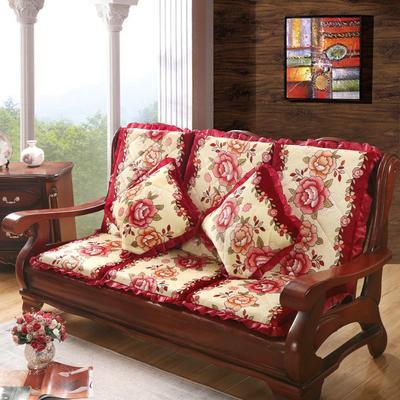 2019新款法莱绒坐垫 (一坐一靠) 硬质棉款:55cm 玫瑰花 红