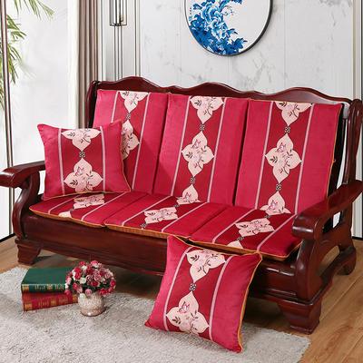 2020新款数码印花实木沙发垫带靠背 一座一靠位长55cm(硬质棉) 蝶恋花-红