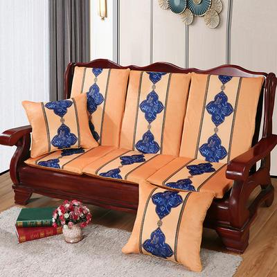 2020新款数码印花实木沙发垫带靠背 一座一靠位长55cm(硬质棉) 蝶恋花-黄