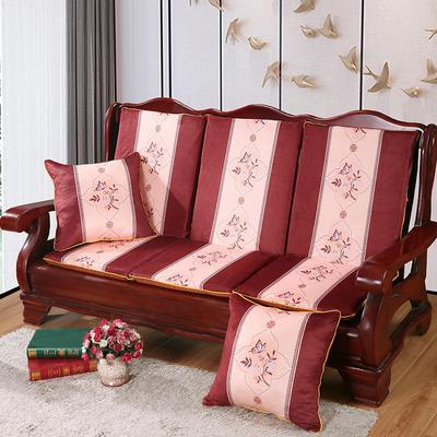 2020新款数码印花实木沙发垫带靠背 一座一靠位长55cm(硬质棉) 蝶恋花-咖