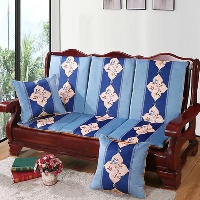 2020新款数码印花实木沙发垫带靠背 一座一靠位长55cm(硬质棉) 蝶恋花-蓝