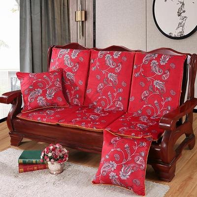 2020新款数码印花实木沙发垫带靠背 一座一靠位长55cm(硬质棉) 凤尾花-红(新)