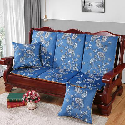 2020新款数码印花实木沙发垫带靠背 一座一靠位长55cm(硬质棉) 凤尾花-蓝(新)