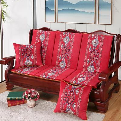 2020新款数码印花实木沙发垫带靠背 一座一靠位长55cm(硬质棉) 锦上添花-红