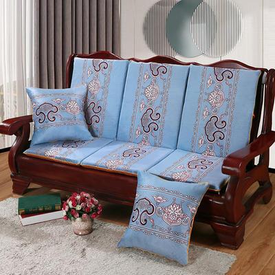 2020新款数码印花实木沙发垫带靠背 一座一靠位长55cm(硬质棉) 锦上添花-灰蓝