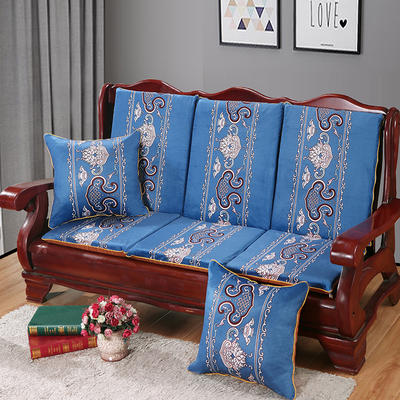 2020新款数码印花实木沙发垫带靠背 一座一靠位长55cm(硬质棉) 锦上添花-蓝