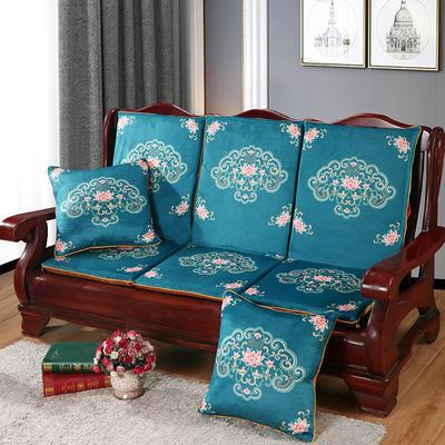 2020新款数码印花实木沙发垫带靠背 一座一靠位长55cm(硬质棉) 如意-翠绿