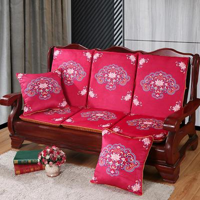2020新款数码印花实木沙发垫带靠背 一座一靠位长55cm(硬质棉) 如意-玫红