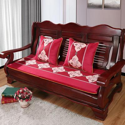 2020年新款数码印花实木沙发垫单人双人三人红木坐垫 双人坐垫53x110cm 蝶恋花-红
