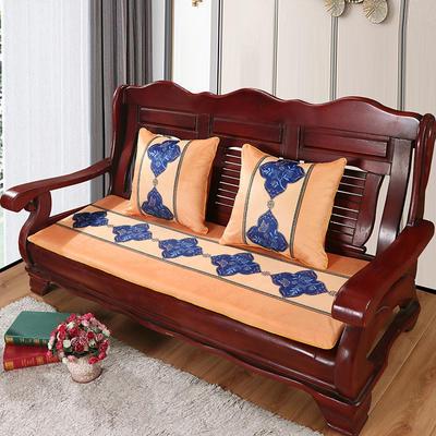 2020年新款数码印花实木沙发垫单人双人三人红木坐垫 双人坐垫53x110cm 蝶恋花-黄
