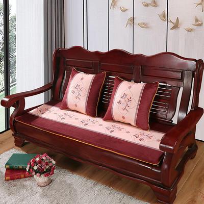 2020年新款数码印花实木沙发垫单人双人三人红木坐垫 双人坐垫53x110cm 蝶恋花-咖