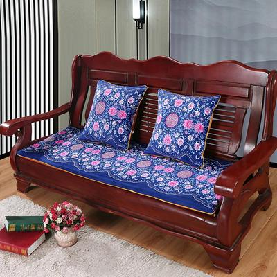 2020年新款数码印花实木沙发垫单人双人三人红木坐垫 双人坐垫53x110cm 繁花似锦