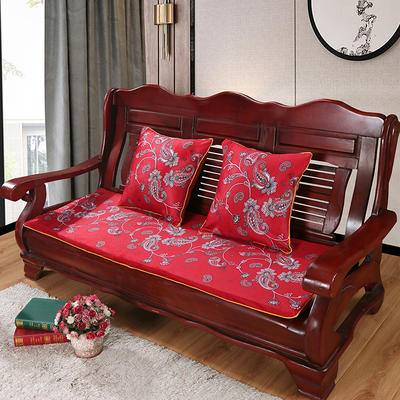 2020年新款数码印花实木沙发垫单人双人三人红木坐垫 双人坐垫53x110cm 凤尾花-红(新)