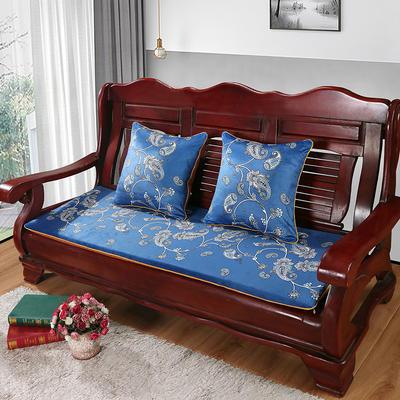 2020年新款数码印花实木沙发垫单人双人三人红木坐垫 双人坐垫53x110cm 凤尾花-蓝(新)