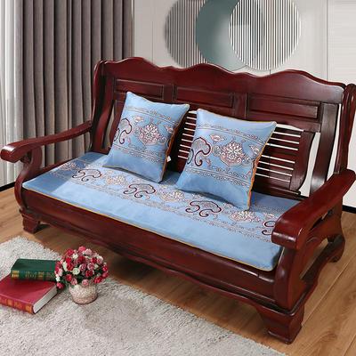 2020年新款数码印花实木沙发垫单人双人三人红木坐垫 双人坐垫53x110cm 锦上添花-灰蓝