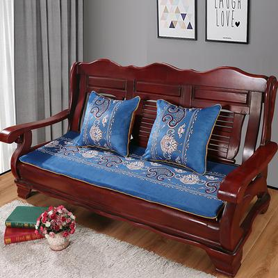 2020年新款数码印花实木沙发垫单人双人三人红木坐垫 双人坐垫53x110cm 锦上添花-蓝