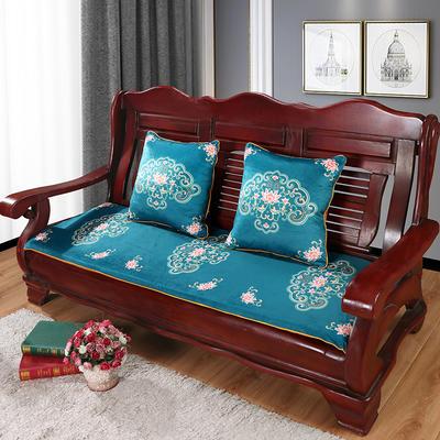 2020年新款数码印花实木沙发垫单人双人三人红木坐垫 双人坐垫53x110cm 如意-翠绿