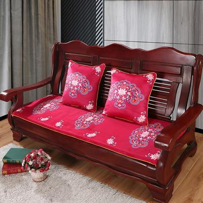 2020年新款数码印花实木沙发垫单人双人三人红木坐垫 双人坐垫53x110cm 如意-玫红