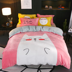 2018新款卡通大版法兰绒四件套 1.5m(5英尺)床 猫咪宝贝