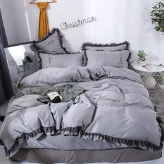 2019新款黑蕾丝款四件套 1.5m(5英尺)床(床单款) 中灰