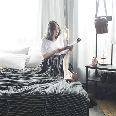 2019新款針織棉夏被 100*140 黑白細條