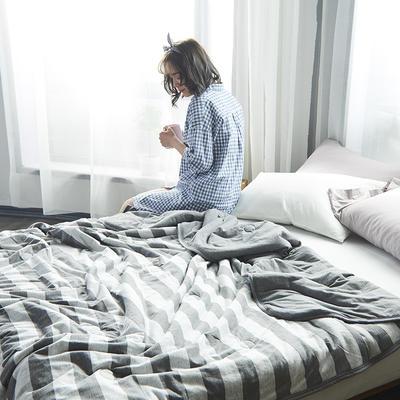 2019新款針織棉夏被 100*140 麻灰寬條