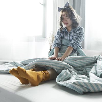 2019新款針織棉夏被 100*140 水綠中條