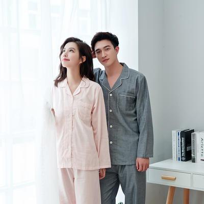 2020新款情侶家居服一套 M 純色(粉灰)