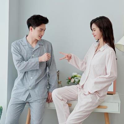 2020新款情侶家居服一套 M 細格(粉藍)