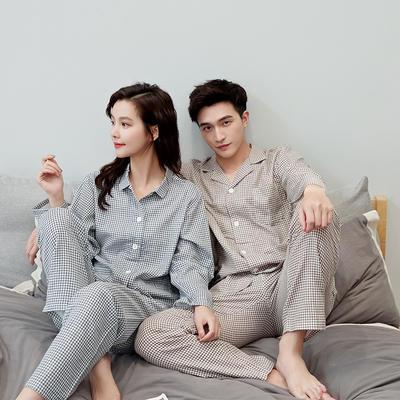 2020新款情侶家居服一套 M 細格(藍咖)