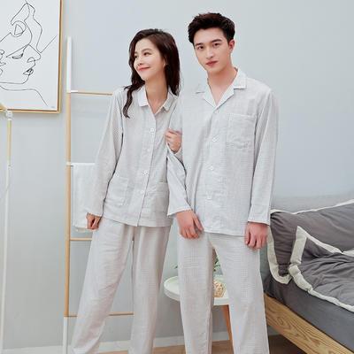 2020新款情侶家居服一套 M 細格米色