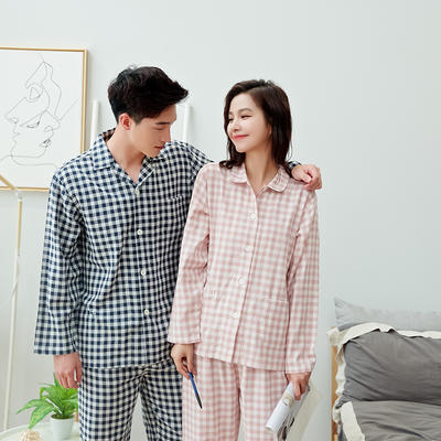 2020新款情侶家居服一套 M 小格(粉藍)