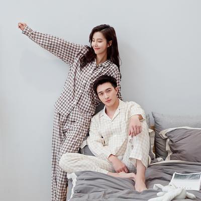 2020新款情侶家居服一套 M 小格(咖米)