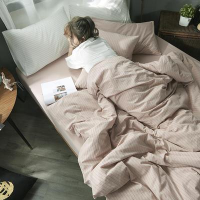2020新款水洗棉四件套 1.2m床单款三件套 粉灰细条