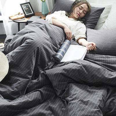 2020新款水洗棉四件套 1.2m床单款三件套 灰白细条