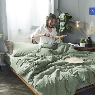 2020新款水洗棉四件套 1.2m床单款三件套 抹茶绿细条