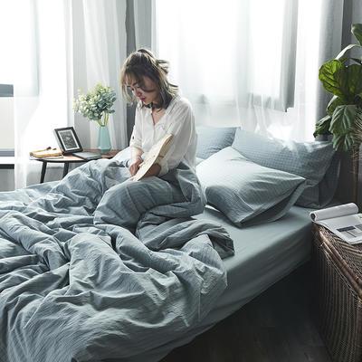2020新款水洗棉四件套 1.2m床单款三件套 雾蓝细条