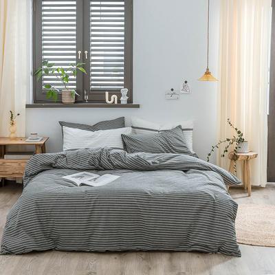 2020新款水洗棉四件套 1.2m床单款三件套 黑细条