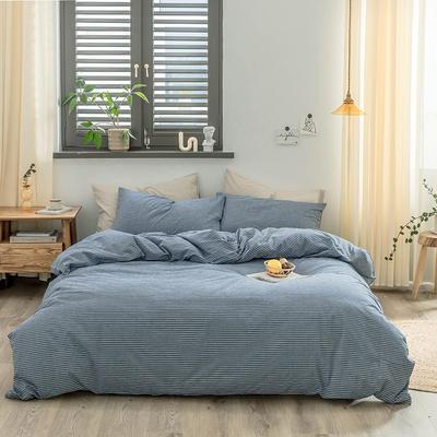 2020新款水洗棉四件套 1.2m床单款三件套 牛仔蓝细条