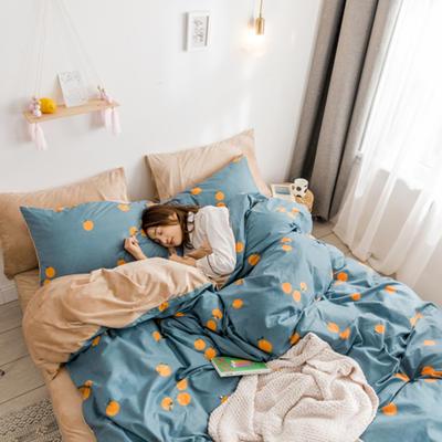 2018新款ins棉加绒四件套 1.2m(4英尺)床 小橘子
