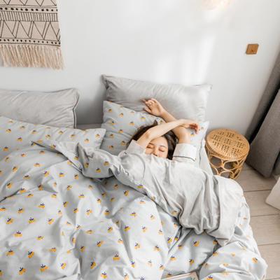 2018新款ins棉加绒四件套 1.2m(4英尺)床 小枇杷