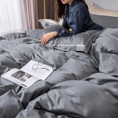 2018新款长绒棉60支工艺款四件套 1.8m(6英尺)床 高级灰