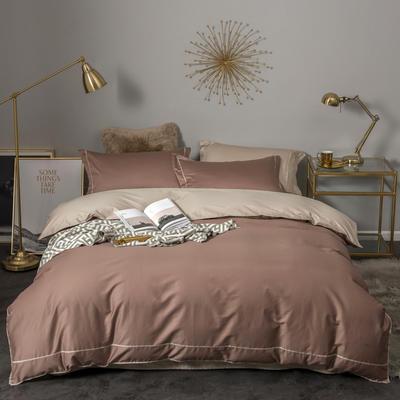 2018新款长绒棉60支工艺款四件套 1.8m(6英尺)床 暖棕色